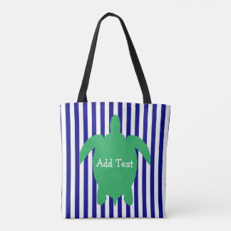 Personalized Blue and Green Sea Turtle Beach Bag