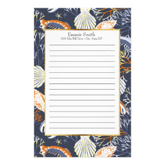 Personalized Blue and Orange Ocean Sea Life Stationery