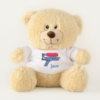 Personalized Blue And Red Water Gun Teddy Bear
