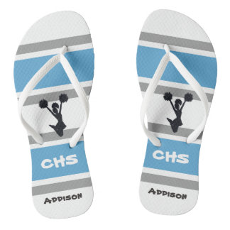 Personalized Blue and Silver Cheerleader Flip Flop