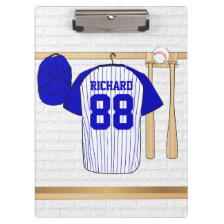 Personalized Blue and White Baseball Jersey Clipboard