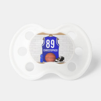 Personalized Blue and White Basketball Jersey Baby Pacifiers