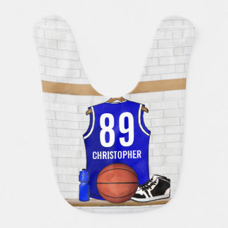 Personalized Blue and White Basketball Jersey Bibs