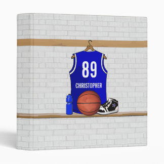 Personalized Blue and White Basketball Jersey 3 Ring Binder