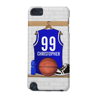 Personalized Blue and White Basketball Jersey iPod Touch 5G Covers