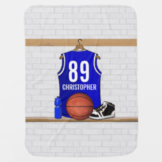 Personalized Blue and White Basketball Jersey Receiving Blanket