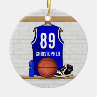 Personalized Blue and White Basketball Jersey Round Ceramic Ornament