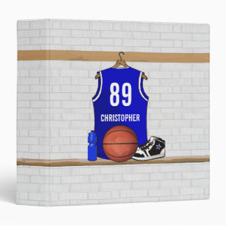 Personalized Blue and White Basketball Jersey Vinyl Binder