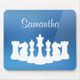 Personalized Blue and White Chess Mousepad