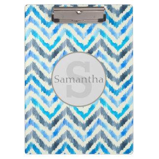 Personalized Blue and White Chevon Clipboard