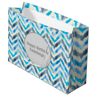 Personalized Blue and White Chevron Large Gift Bag