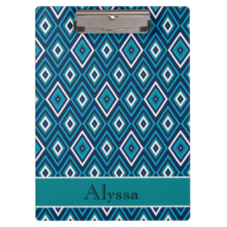 Personalized Blue and White Diamond Pattern Clipboard