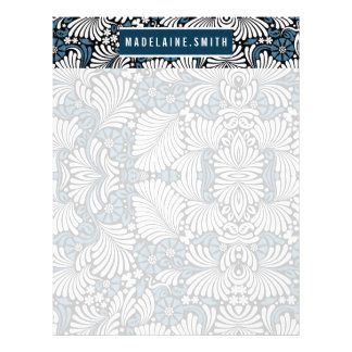 Personalized Blue and White Fern Retro Print Custom Letterhead