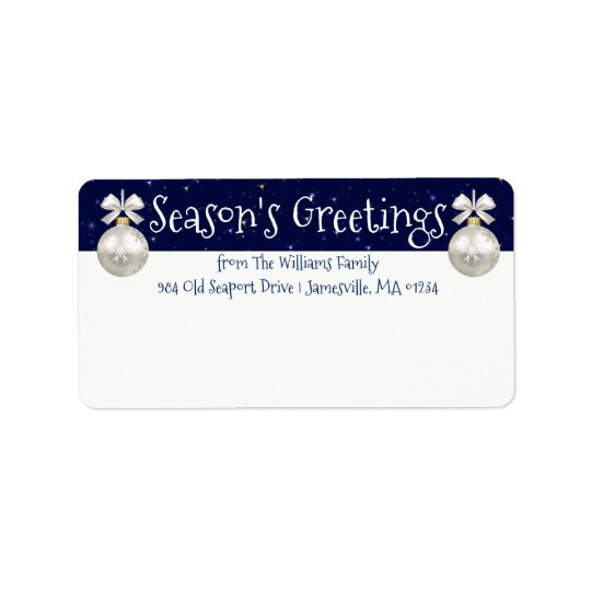 Personalized Blue and White Holiday Mailing Labels