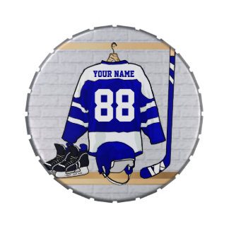 Personalized Blue and White Ice Hockey Jersey