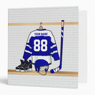 Personalized Blue and White Ice Hockey Jersey 3 Ring Binder