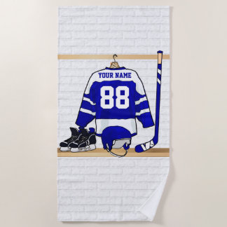 Personalized Blue and White Ice Hockey Jersey Beach Towel
