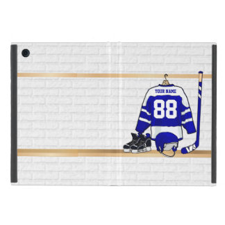 Personalized Blue and White Ice Hockey Jersey Cases For iPad Mini