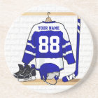 Personalized Blue and White Ice Hockey Jersey Coaster