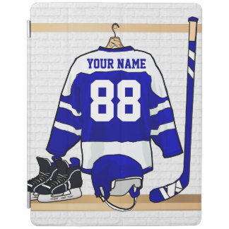 Personalized Blue and White Ice Hockey Jersey iPad Cover