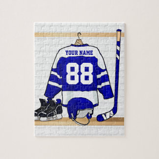 Personalized Blue and White Ice Hockey Jersey Jigsaw Puzzle