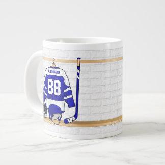 Personalized Blue and White Ice Hockey Jersey Jumbo Mug