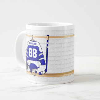 Personalized Blue and White Ice Hockey Jersey Large Coffee Mug