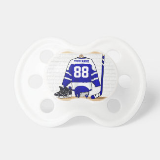 Personalized Blue and White Ice Hockey Jersey Pacifier