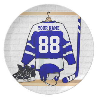 Personalized Blue and White Ice Hockey Jersey Plate