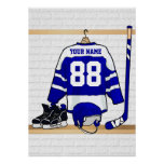 Personalized Blue and White Ice Hockey Jersey Poster