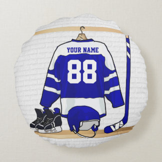 Personalized Blue and White Ice Hockey Jersey Round Pillow