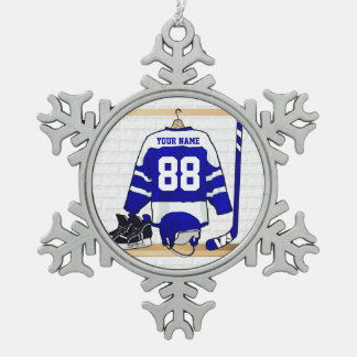 Personalized Blue and White Ice Hockey Jersey Snowflake Pewter Christmas Ornament