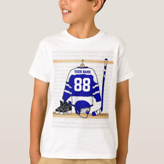 Personalized Blue and White Ice Hockey Jersey T-Shirt