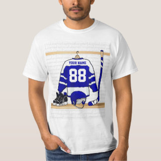 Personalized Blue and White Ice Hockey Jersey Tees