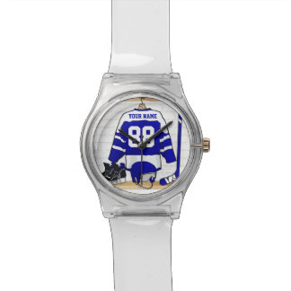 Personalized Blue and White Ice Hockey Jersey Wrist Watches