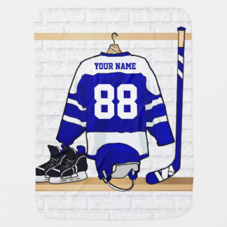 Personalized Blue and White Ice Hockey Jersey Stroller Blankets