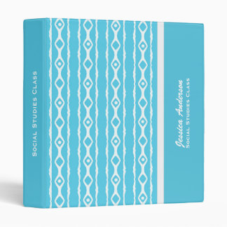 Personalized: Blue And White Link Pattern Binder