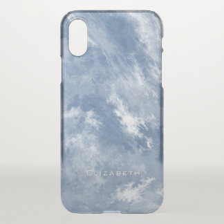 personalized blue and white marbled abstract sky iPhone x case