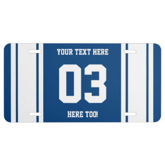 Personalized Blue and White Sports Stripes License Plate