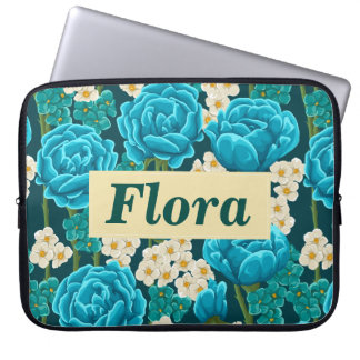 Personalized blue aqua rose floral painted pattern computer sleeves