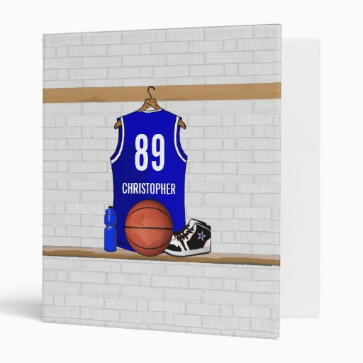 Personalized Blue Basketball Jersey 3 Ring Binder