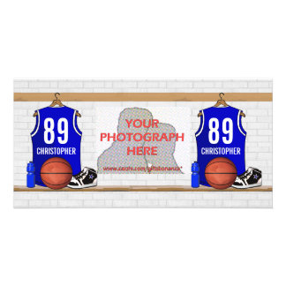 Personalized Blue Basketball Jersey Photo Greeting Card