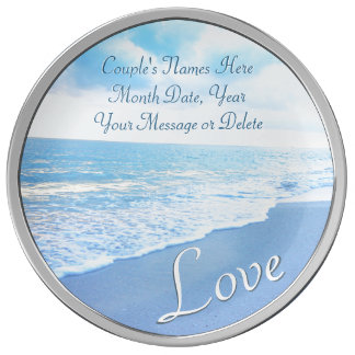 Personalized Blue Beach Theme Wedding Gifts, Plate