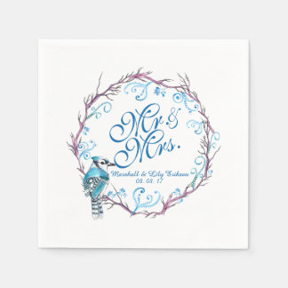 Personalized Blue Bird and Floral Wedding Napkin