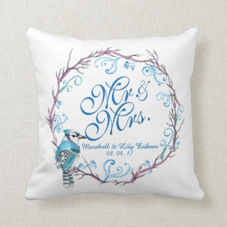 Personalized Blue Bird and Floral Wedding Pillow
