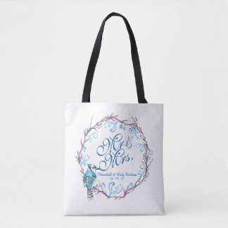 Personalized Blue Bird and Floral Wedding Tote Bag
