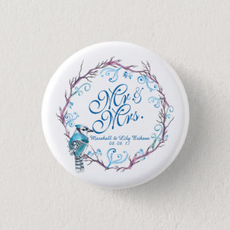Personalized Blue Bird & Floral Wedding Pin Button