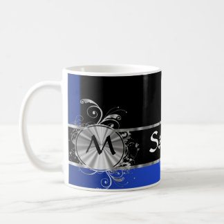 Personalized blue black and silver monogram coffee mug