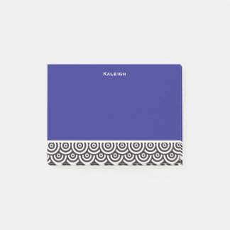 Personalized Blue Black and White Retro Post-it Notes