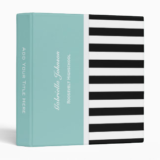 Personalized: Blue Black And White Striped Binder